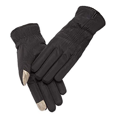Gloves Guantes de Algodón, Invierno Mujer Gruesa, Cálida, Fría, Cálida Y Aterciopelada Linda Estudiante Ciclismo Pantalla Táctil Impermeable Guantes de Esquí,Negro,Una Talla