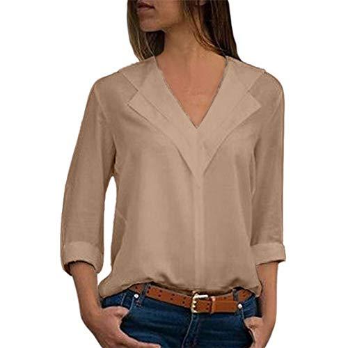 iYmitz Mode Damen Chiffon Solid T-Shirt Büro Plain Roll Ärmel Bluse Top(Khaki,EU-38/CN-S)