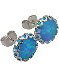 Fiesta Jewelry–Joya de la plata Negro Color Azul Mar ópalo mujeres fashion Jewelry E283