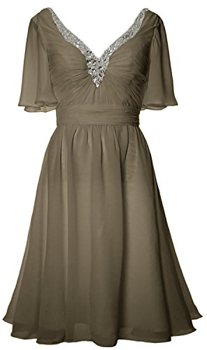 MACloth Women Short Sleeves Mother of Bride Dress V Neck Evening Formal Gown Pewter