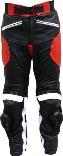 *Damen Motorradhose Motorrad Biker Racing Lederhose Rindsleder Schwarz/Rotweiss, Größe:M*
