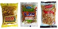 Kovai RDM Nendhram Chips + Kovilpatti KPN Ko Ko Mittai (Crushed Groundnut Chikki Candy) + Thoothukudi Thangapandiyan Sev - Pack of 3 (250g + 250g + 200g)
