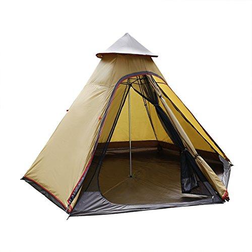 ANCHEER Tipi Zelt Outdoor Wasserdicht Instant Familiezelt Indianerzelt für 4 Personen Campingzelt Pyramidenzelt mit 5000mm Wassersäule