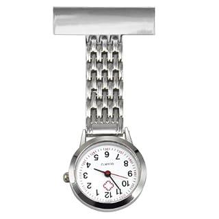 TRIXES Nurses Silver Fob Watch - Stainless Steel Quartz - Nurse Pocket Watch