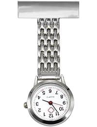 TRIXES Reloj a Cuarzo de Bolsillo en Acero Inoxidable Plata para Enfermera