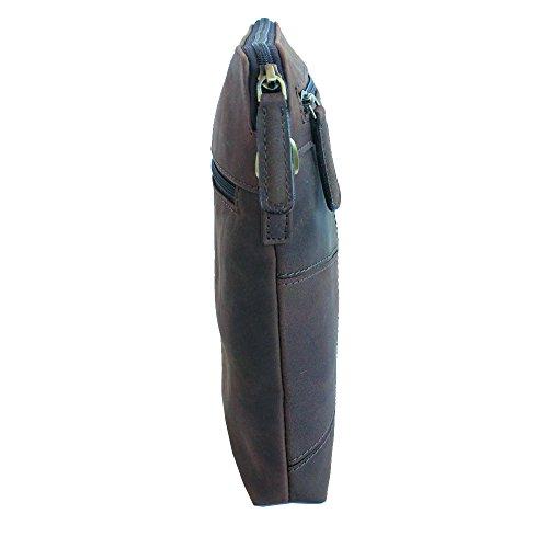 Jenes & Jandura Handgearbeitete hochwertige, handschmeichelnde Leder Tasche Umhängetasche Schultertasche Extra Slim Design Tobacco
