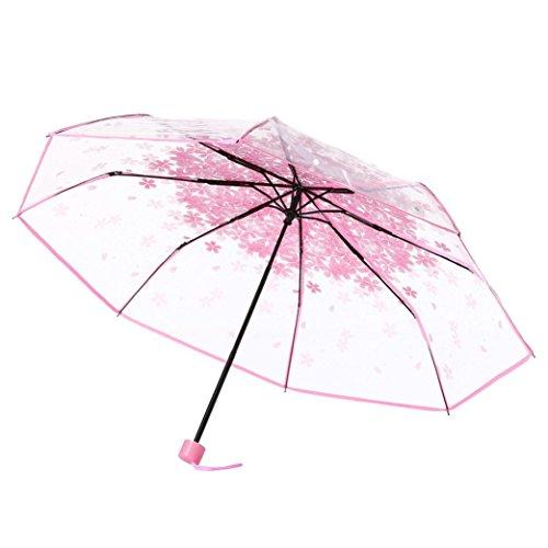 youg Tragbarkeit transparent klar Regenschirm Cherry Blossom Pilz Apollo Sakura 3Fold Regenschirm UV Sonne/Regen Regenschirm für Damen/Mädchen, PU, rose, Einheitsgröße (Cherry Blossom Mädchen)