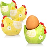 com-four® 4X Eierbecher Huhn aus Keramik - Eierbecher Set für Ostern - Eierbecher bunt ideal für Oster-Deko (04 Stück - Eierbecher Huhn)