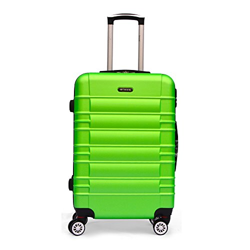 SHAIK SerieCLASSIC JFK Design Hartschalen Trolley, Koffer, Reisekoffer 4 Doppelrollen Zwillingsrollen, Zahlenschloss (Mittelgroßer Koffer, Grün)
