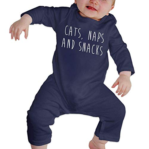 Junioren Long Sleeve Thermal (Bodys für Baby Lange Ärmel Baby Jumpsuit Baby Romper Long Sleeve Bodysuit Cats Naps and Snacks Unique Design Newborn Sleepsuit Gift)