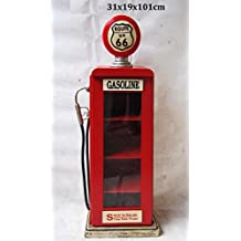 """'Retro Vintage parete armadio/Vetrina """"Route 66pompa di benzina–rosso"""