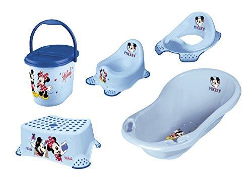 Disney Micky Mouse Set of 5 Bathtub + Potty + Toilet Seat +Stool +Diaper Bucket NEW