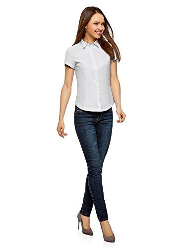 oodji Ultra Damen Kurzarm-Bluse Basic Weiß (1000N)