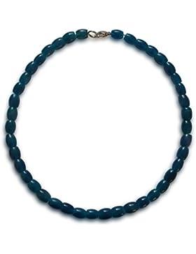 Achat Halskette, natürlich, blau, oval, 10x8mm