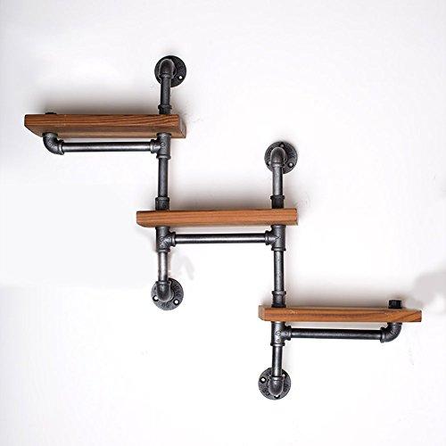 Étagère en fer à trois étagères en étagère en bois Étagère à étagères en étagère à pharmacie Vintage Hose Pack de 2