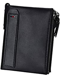 Billetera de cuero Pawaca con bloqueo de identificación por radiofrecuencia para hombres, de cuero genuino, doble cremallera y bolsillo para las monedas negro negro