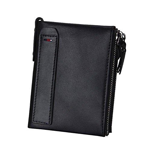 Pawaca Männer RFID Blocking Wallet Echtes Leder Doppel Reißverschluss Bifold Brieftasche mit Münze Kartenhalter (Herren Wallet Bi-fold Leder)