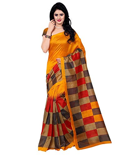 Women's Bhagalpuri Art Silk Traditional Saree Unstitched Blouse Design (BHAGALPURI SAREE 26_Multi...