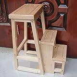 Step Stool Wooden - Trittleiter 100% Holzklappbarer Trittleiter aus Holz Multifunktionsleiter Haushalt Einfaches Regal Welcome (Farbe : Klarer Lack)