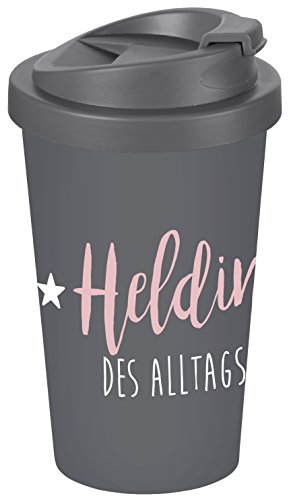 infinite by GEDA LABELS (INFKH) Heldin des Alltags Coffee to go Becher, Kunststoff, Grau, 9 x 9 x 17 cm