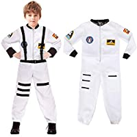 Discoball Kids Spaceman Costume Child Astronaut Costume Spacesuit Spaceman Jumpsuit Kids Fancy Dress Outfit Halloween Costumes for Kids White Uniform by Age 5-10 Years
