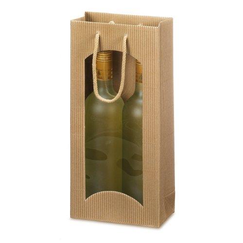 10 x Weintragetasche, Weinverpackung, Flaschentasche (2 Flaschen) - Focus natur