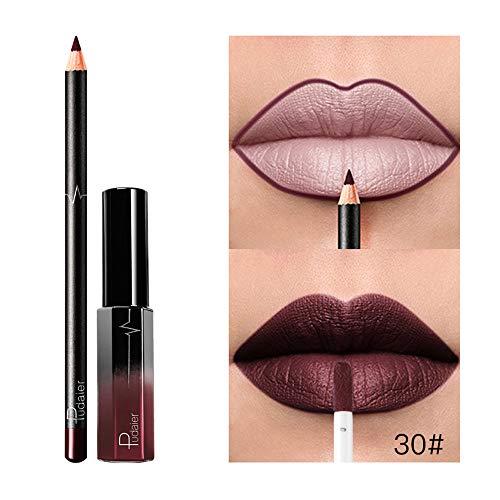 Floweworld Lippenstift Shiny Long Lasting Flüssige Matte Wasserdichte Schimmer Lipgloss Kosmetik Make-Up Langlebige Wasserdichte Rote Lipgloss Flüssige Matte Glossy