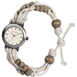 Kahuna Women's Quartz Watch with Beige Dial Analogue Display and Beige Plastic or PU Strap KLF-0005L