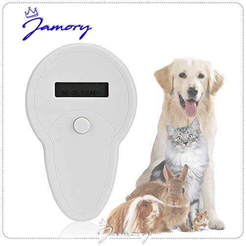 Jamory ISO-Haustierkartenleser Scanner Tragbare Chiplesegerät Tierkennzeichnung Mikrochip Tieridentifikation (Weiß)
