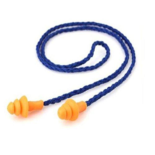 Tinksky 10 Pares Tapones para Los Oídos con Cordón - Reutilizable (Azul)