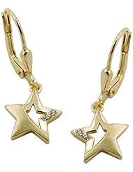 Pendientes de estrellas con 375 oro pendientes blanco zirconia