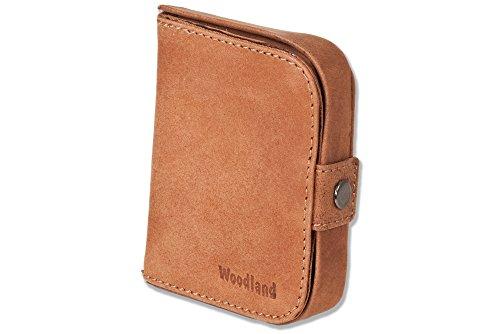 Woodland® - Schüttelbörse mit Geldscheinfach aus naturbelassenem, weichem Büffelleder in Cognac, Beige