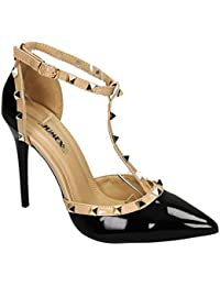 ebcba7568d2432 King Of Shoes Elegante Damen Riemchen Abend Sandaletten High Heels Pumps  Lack Stilettos Schuhe GH