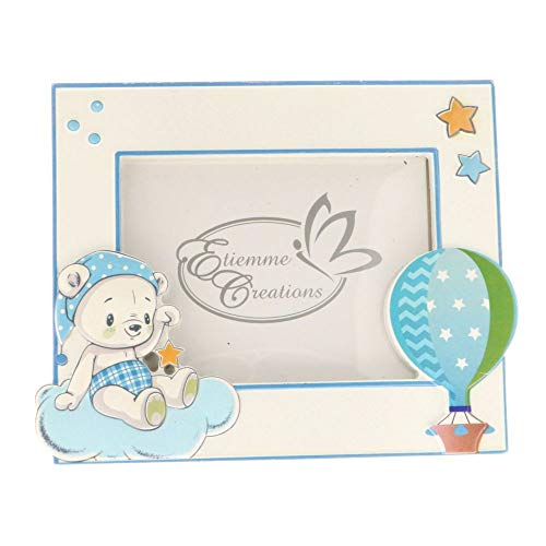 Smile orso cornice portafoto resina orsetto celeste 16x13 cm bomboniera
