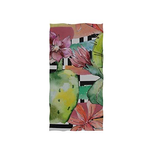 Grüner Sommer tropischer Kaktus weicher Badekurort Badetuch Fingerspitzen Handtuch Waschlappen für Baby erwachsenes Badezimmer Strand Dusche Wrap Hotel Reise Gymnastik Sport 30x15 Zoll -