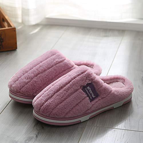 Qsy shoe Gestreifte Hausschuhe aus Baumwolle zu Hause warm Rutschfeste Mond, C5-M819-lila, 35-36