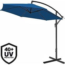 Deuba Parasol en Aluminium Ø 330 cm Bleu Manivelle Protection UV 40+ Pare-Soleil