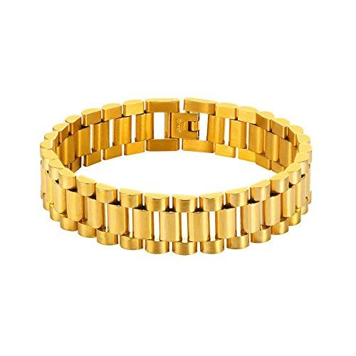 U7 Herren Armband Klassische Gliederarmband Armkette Edelstahl Gold/schwarz Armreif Biker Kette Armschmuck, abnehmbar