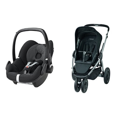 Maxi-Cosi Pebble Group 0+ Car Seat with Mura Plus Pushchair and Foldable Carrycot – Black Raven