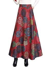 Damen Vintage Elegant Plaid Gestreiftes Elastische Taille Wollrock hohe  Taille Langen röcke Mädchen Warm Wolle Retro 22e6879a29