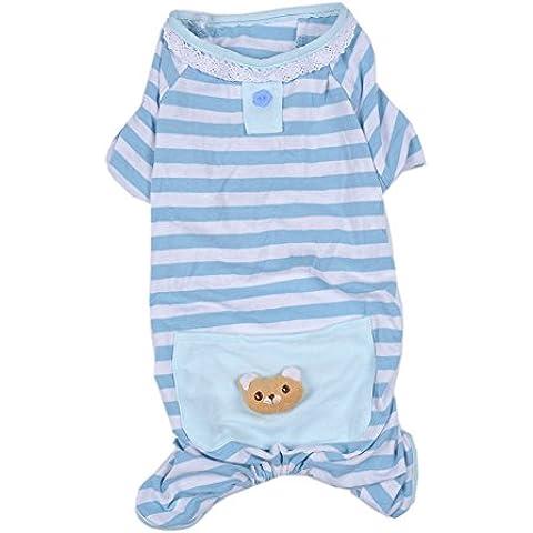 Gato del perro ropa de noche / camisón / chaqueta de algodón pijamas traje de la ropa del tamaño del perro pequeño de color azul S XL