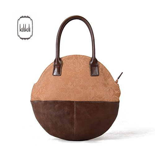 Couleur de l'ouest contraste cuir sac femme sac sac Messenger sac baril Khaki