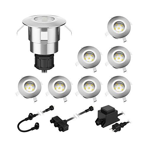 parlat LED Boden-Einbauleuchte Atria für außen Aluminium kalt-weiß, je 14lm, IP65, 40mm Ø 8er Set