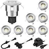 parlat LED lámpara empotrable en el suelo Atria para interior y exterior, blanca cálida, cada 14lm, IP65, 40mm Ø juego de 8