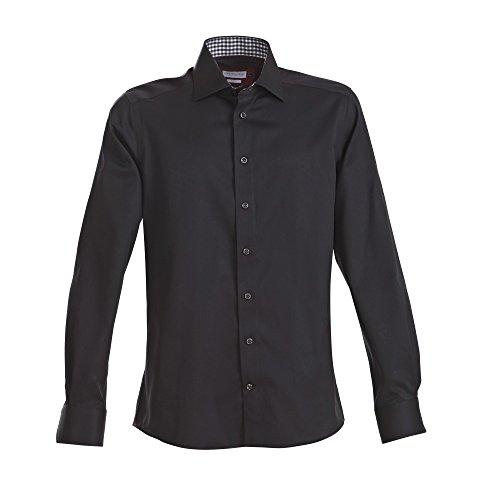 J Harvest & Frost Camicia Classica in Figura Slim Fit - Uomo Nero/Rosso