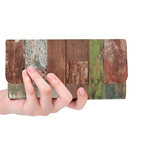 Einzigartige benutzerdefinierte abstrakte Grunge Holz Textur Frauen Trifold Brieftasche Lange Geldbörse Kreditkarteninhaber Fall Handtasche -