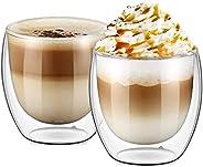 اكواب قهوة زجاجية مزدوجة الجدار لاكواب الكابتشينو واللاتيه، للمشروبات الباردة والساخنة (250 مل)، مجموعة من قطع