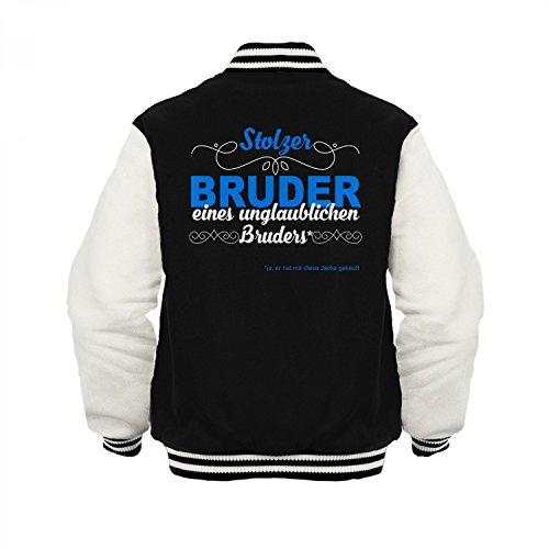 Fashionalarm Herren College Jacke - Stolzer Bruder eines unglaublichen Bruders | Varsity Baseball Jacket | Sweatjacke Geschenk Idee Geschwister Schwarz / Weiß