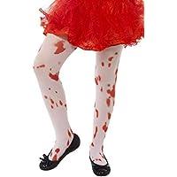 Smiffys, Kinder Mädchen Strumpfhose mit Blutflecken, Alter: 6-12 Jahre, Weiß und Rot, 45623