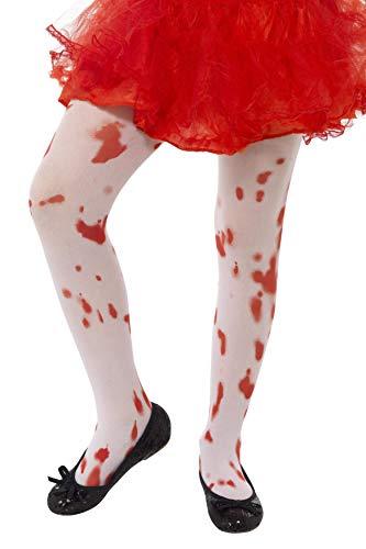 Kostüm Kinder Zombie Cheerleader - Smiffys, Kinder Mädchen Strumpfhose mit Blutflecken, Alter: 6-12 Jahre, Weiß und Rot, 45623